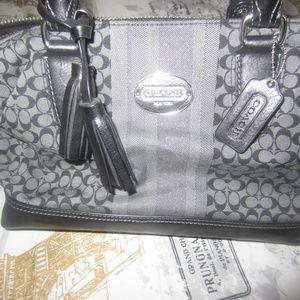 Coach Signature Satchel Bag in Black/Silver